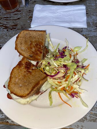 Spinach Strawberry Bacon Jam Grilled Cheese, with cole slaw