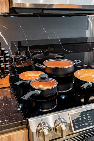 Kitchens come fully stocked with pots, pans, knives, and everything else you'll need to cook and eat