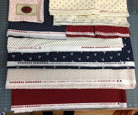 Shapleigh, ME: Fabrics from Primitive Quarters Quilt Shop.