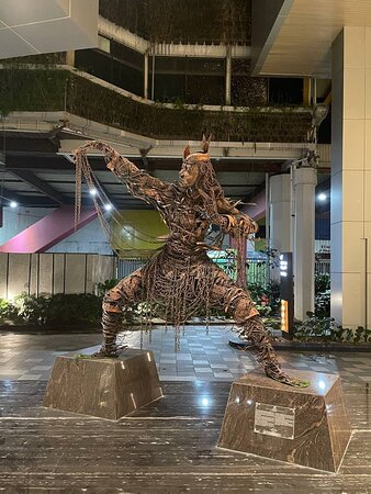 Statue in front of lobby