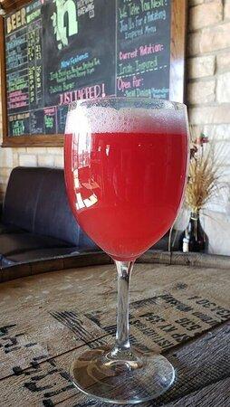 Raspberry, Lemon, and Ginger Kombucha. Very refreshing!