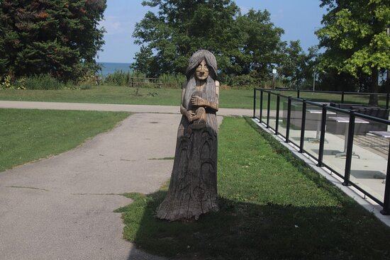 A wooden statue