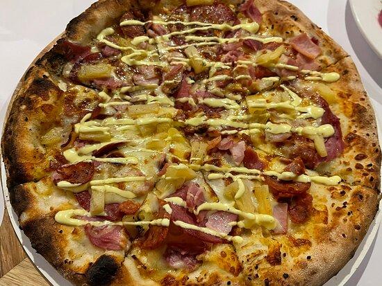 Carnivore & Satay Chicken Pizza. Pork Belly