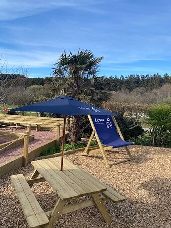 Our new coffee shop seating area- a sun trap!