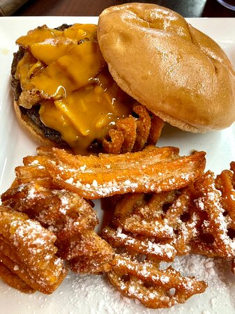 Summit, MS: Black & Gold Burger with Sweet Potato Fries
