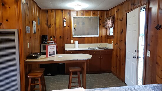 Bernice, OK: View of the kitchenette in one of the cabins. All four cabins have the same setup.