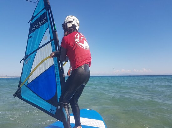 Windsurfing beginner lessons every day in Valdevaqueros with our official Windsurfing school in Tarifa Wind & Water Experience +34 661628385