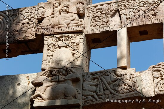 The Southern Gateway ( Torana ) of Stupa  No. - 1 , Sanchi……… one of the side portion view , presented many stories related to Lord Buddha