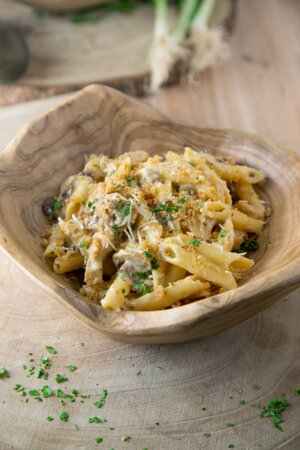 Azaiba, Oman: (Chicken Alfredo) Classic alfredo sauce on penne with mushroom and chicken topped with parmesan.