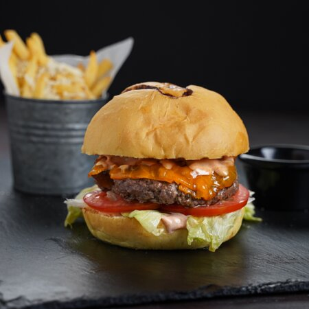Azaiba, Oman: (Cowboy Burger) 120g angus mince, onions, tomatoes and iceberg lettuce done the classic way.