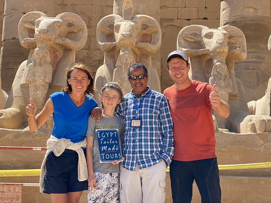 East Bank: Us three with Hassan before entering the peristyle hall in Karnak