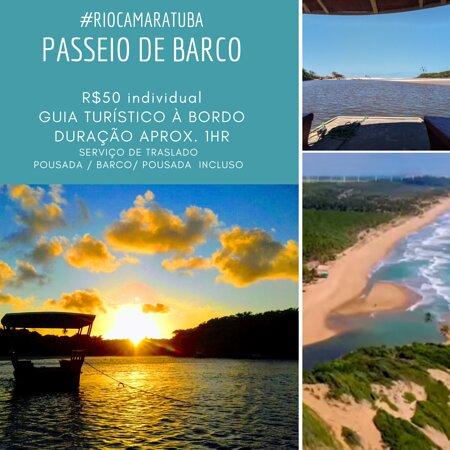 Barra de Camaratuba, PB: passeio de barco com guia a bordo. banho de rio visitação aldeia indígena