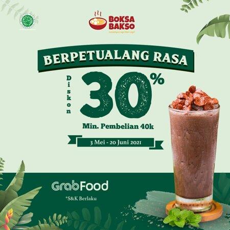 Berpetualang Rasa Bersama Grab Food, dan Dapatkan Diskon 30% dengan Min Pembelian 40k Berlaku dari tanggal 3 Mei - 20 Juni 2020