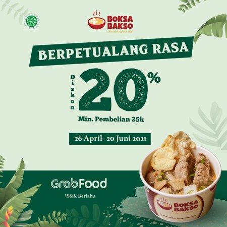 Berpetualang Rasa Bersama Grab Food, dan Dapatkan Diskon 20% dengan Min Pembelian 25k Berlaku dari tanggal 26 April - 20 Juni 2020