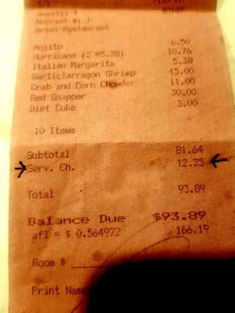 Copy of actual receipt.