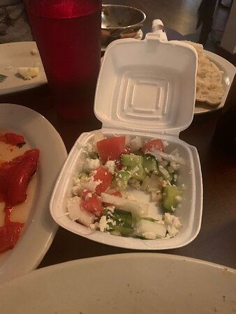 """Salad in """"to go"""" box brought to me after I was done eating. Disaster"""