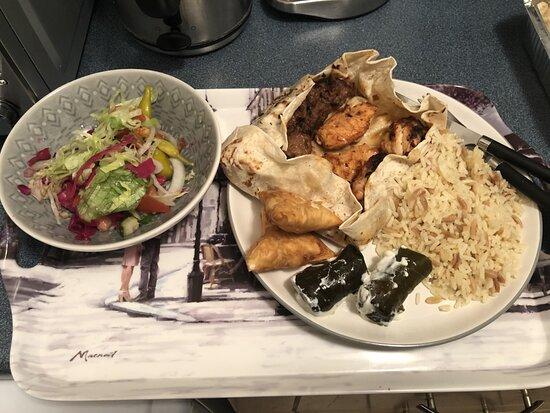 Mixed kebab, rice, sarma, borek, salad