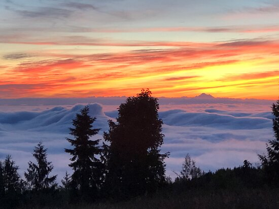 Sunrise above the clouds from the Patio and room