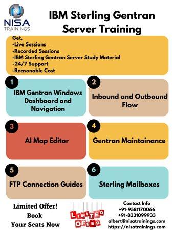 الهند: Nisa's IBM Sterling Gentran Server corporate training trains you on Microsoft windows mapping and introduces to windows and electric data interchange (EDI) mapping on the sterling gentran server. 