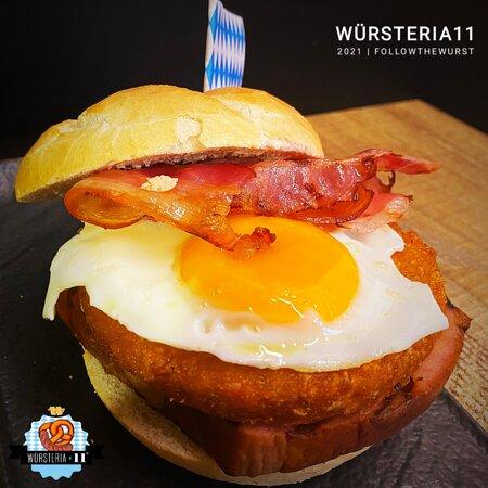 Burger W11 special, Fleischkäse, Rösti, Uovo, Bacon