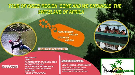 we will be travelling to Kisoro and kabale districts respectively as we tour the Kigezi region, Ziplining, Boat Cruise, Nature/community walks, Hiking Mountain Muhavura among others. Dont miss out on this opportunity