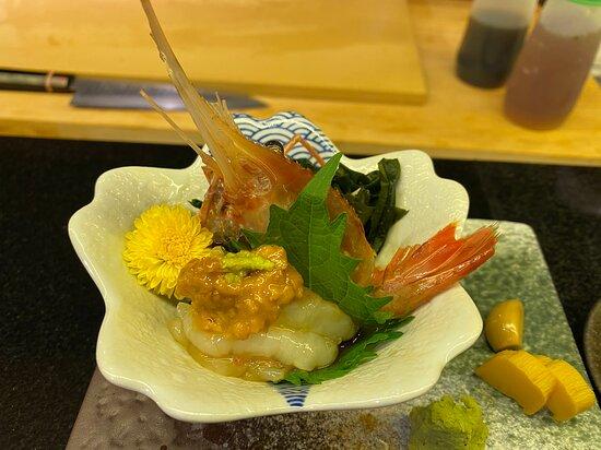Sashimi - Shrimp topped with sea urchin