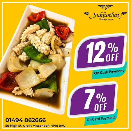 Get your fabulous meal today from Sukhothai🤗  Because we serve the best that is needed for a food lover.👨‍🍳😋 🚧 12% off on collection order. (cash payment) 🚧 7% off on Collection order. (card payment)