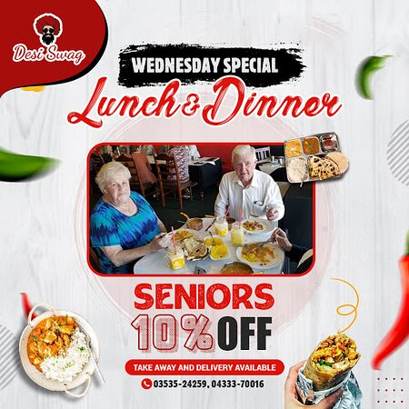 Enjoy exclusive benefits of Wednesday Special Lunch Deals- Senior Citizens get 10% OFF! Indulge in the goodness of fresh and savory meals, snacks, and yummy beverages. ·        Book Dine-in/Take-Away/Delivery    ·        Call us on 03535-24259, 04333-70016 ·        Visit us at DESI SWAG, 202-204, Barkly Street, Ararat- Vic. ·        See https://desiswagvictoria.com/