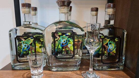 """Cachaça artesanal na garrafa especial com rótulo em homenagem ao """"Udu-de-Coroa-Azul"""" ave símbolo da cidade de Bonito/MS. Foto do rótulo: Daniel De Granville."""
