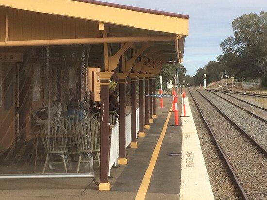 Coolamon, Úc: Al fresco seating on the railway platform.