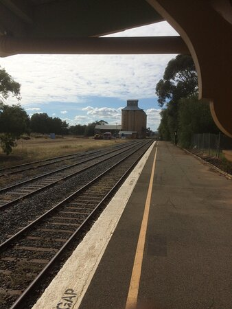 Coolamon, Úc: View of silo from al fresco seating area.