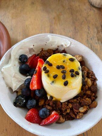 Granola - toasted house nutty granola, passion fruit pannacotta, labneh, seasonal fruit