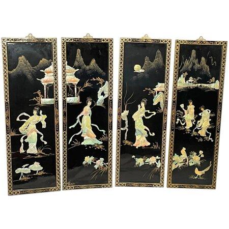 Set Fine 4 Japanese Shibayama Gilt Artworks Temple Geisha Lady's Wall Plaques