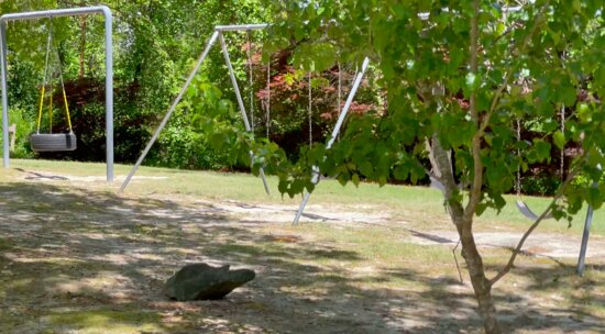 playground is a few swings & a tire swing