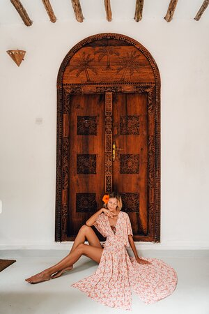 Family suite rooms view from the outside balcony. The beautiful carved zanzibar door .
