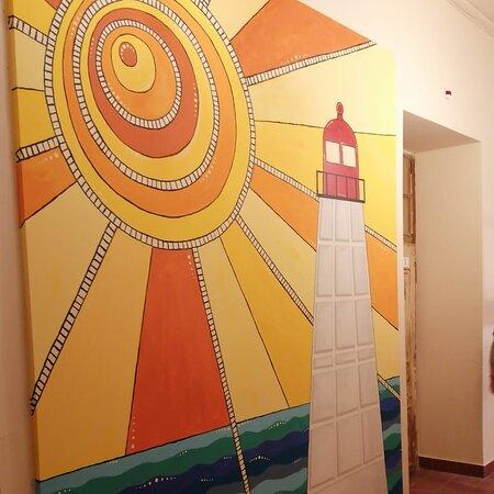 Mural painting inside Tília Hostel