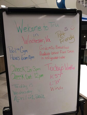 Hotel Signage for extra information regarding events, weather, etc...