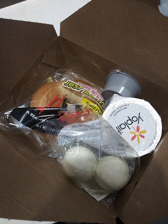 What they give you in a Breakfast Box, but sometimes there aren't any of these cold hard boiled Eggs in the box, no meats are in the Box either.