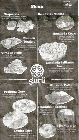 Alto Barinas, Venezuela: El delicioso Menú del Restaurant Guru en año 2016. Aparte del presente Menu prebaraban un delciioso pollo entre otras especialidades.