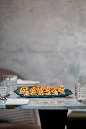 Gyozas de pollo, comida asiática