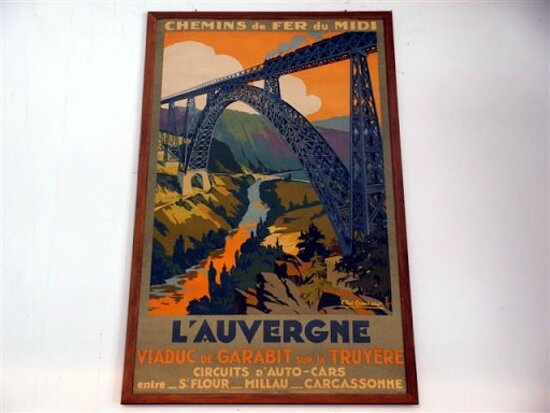 Viaduc de Garabit. Vue B. Affiche. Concepteurs Léon Boyer et Gustave Eiffel. Ruynes en Margeride 15320.
