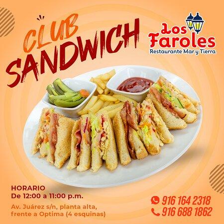 Club sándwich con papas (frescas)