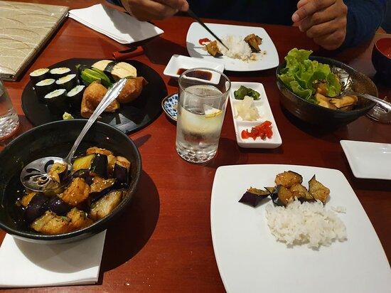 Veggie set menu and Age-Nasu (fried egg plant)
