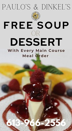 CALL & ask about DELIVERY! FREE Soup OR Dessert with your main course meal order! Open EVERYDAY 3:30 - 8pm 613-966-2556 Pick Up at 38 Bridge St E Belleville