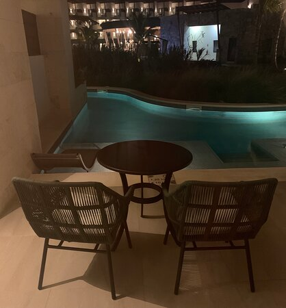 We had a small patio and two lounge chairs in the swim out room pool.