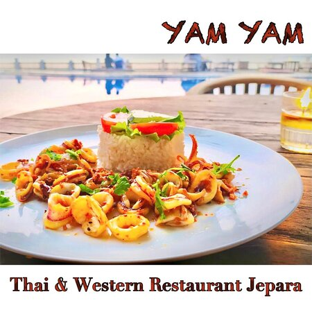 Muag Gratiam ( tumis cumi goreng dengan bawang putih) YAM YAM Restaurant Jepara is Open Everyday!!!!!! Full service Nonstop. Special info during Covid period the Open hours will be from 8:00-21:00 ( last order 20:15, last order for take away until 20:45)  See you... Kiss (from faraway) All staff YAM YAM 😘