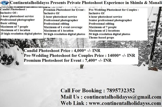 Índia: What to expect When you visit the picturesque resort town of Manali / Shimla, book a private photoshoot to capture all your unforgettable moments. There are three packages you can choose from. There's the Candid Photoshoot which you can enjoy with up to 7 people with a choice of 1 location. If you're celebrating special occasions, there's the Premium Photoshoot For Event and the Pre-Wedding Photoshoot for Couples.