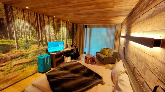 Nice ambience, it really feels like a lodge with forest wallpaper and wooden floor and ceiling. 🌲🌲And sheep 🐑 skin blanket.