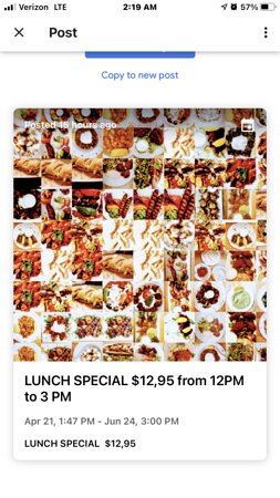 Lunch specials from 12 pm to 4pm $12,95