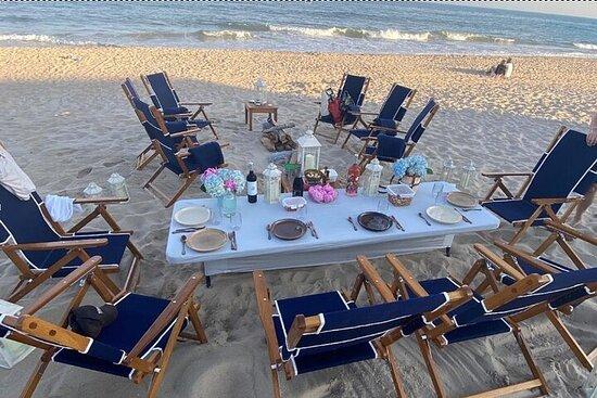 Cena de picnic y fogata en la playa de lujo en Montauk